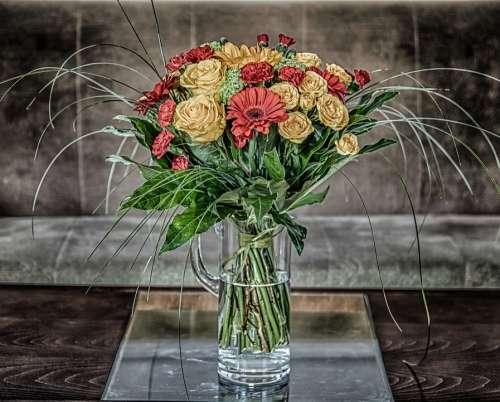 Bouquet Of Flowers Roses Gerberas Red Flowers