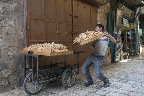 Bread Man Old City Jerusalem Israel Muslim Quarter