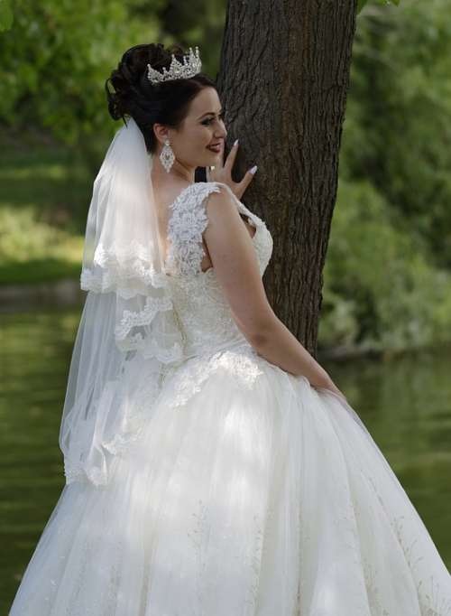 Bride Woman Young Wedding Event Dress White
