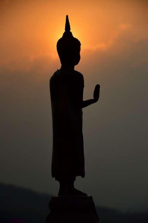 Budda Siluate Temple Light Measure Religion
