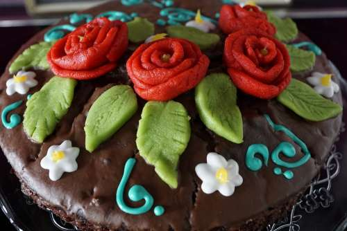 Cake Delicious Roses Decoration Eat Chocolate