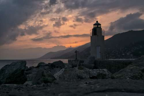 Camogli Liguria Genoa Landscape Sunset Tourism