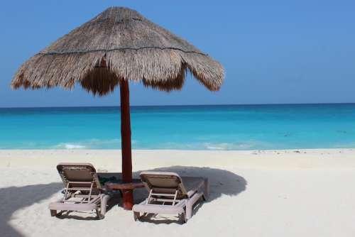 Cancun Beach Mar Caribbean Water Mexico Resort