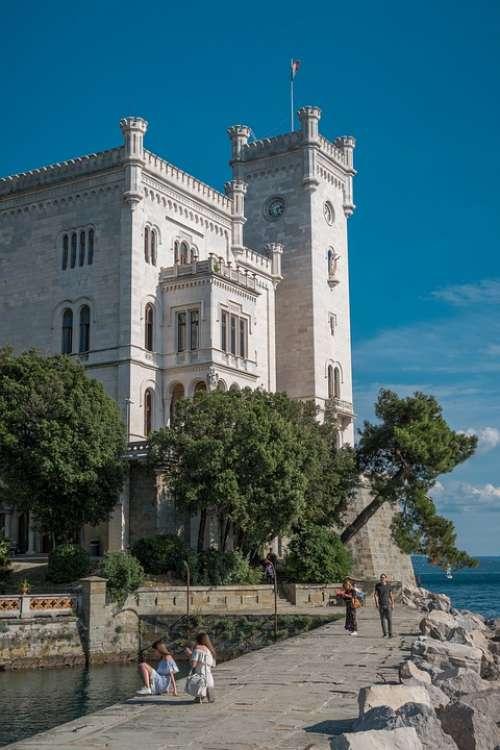 Castle Italy Trieste Architecture Tourism Travel
