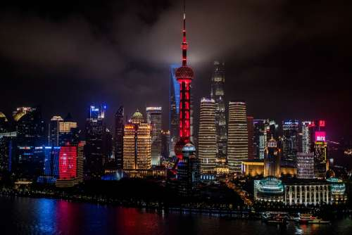 China Shanghai Towers Nightlife Skyline