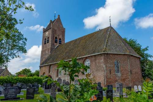 Church Church Tower Cemetery Air Clouds