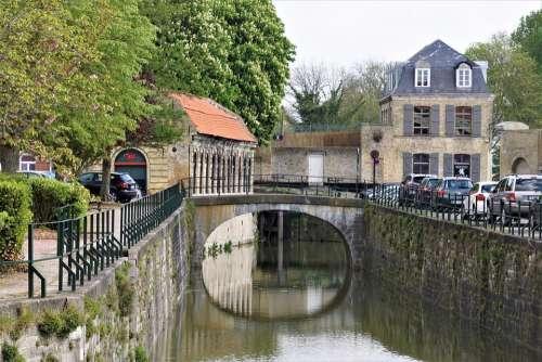 City Canal Architecture Medieval Bridge Bergues