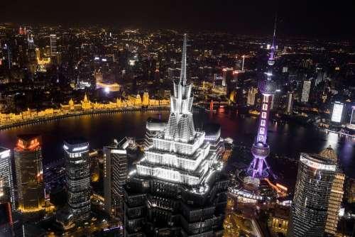 City Skyline Cityscape China Shanghai Modern
