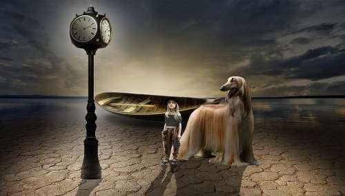 Clock Boat Sea Ocean Light Dog Girl
