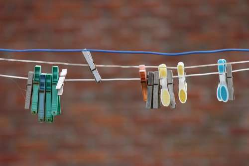 Clothespins Clothes Line Hang Dry Laundry Wash
