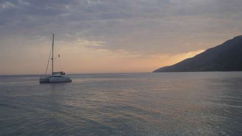 Coast Boats Adriatic Sea Vacations Tourism Sunset