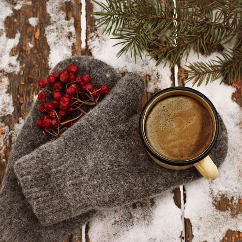 Coffee Mitten Winter Gloves Hot Snow Cold Cozy