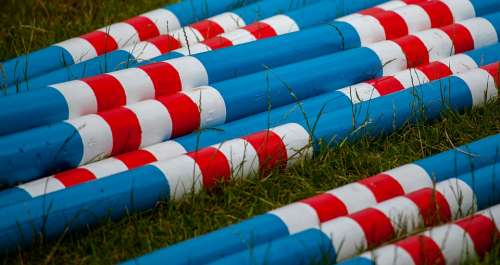 Colourful Poles Wooden Poles Bright