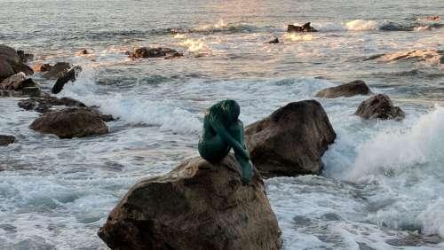 Corsica Port City Sea Sculpture Rock Statue
