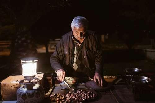 Dealer Old Man The Peddler Chestnut Sell Chestnuts