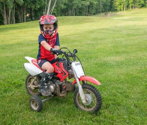 Dirt Bike Training Wheels Helmet Young Boy