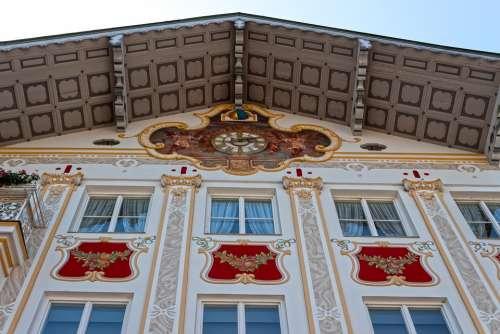 Facade House Lüftlmalerei Clock Architecture