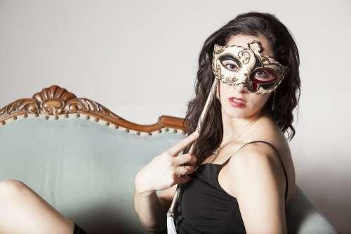 Fashion Model Model Long Hair Brunette Mask