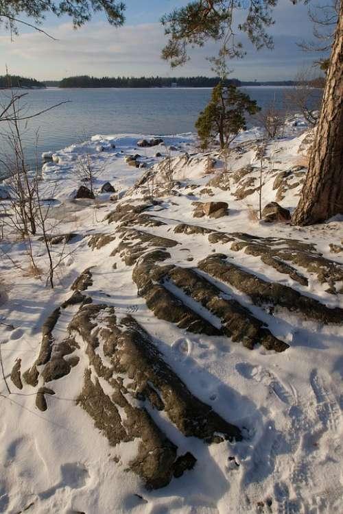 Finland Winter Shoreline Snow Cold Nature Freeze