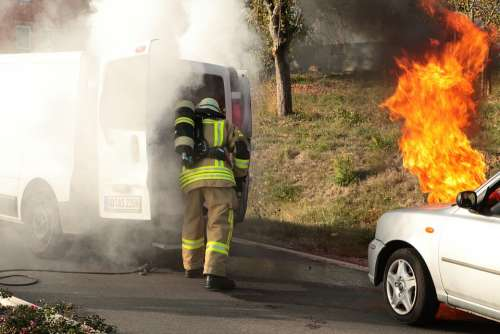 Fire Smoke Traffic Accident Accident Burn Brand
