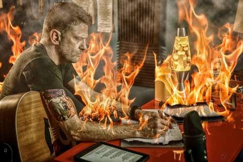 Fire Songwriter Guitar Musician Music