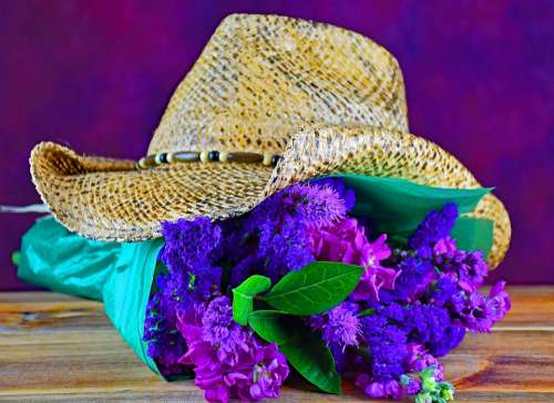 Flowers Bouquet Cowboy Western Love Romance