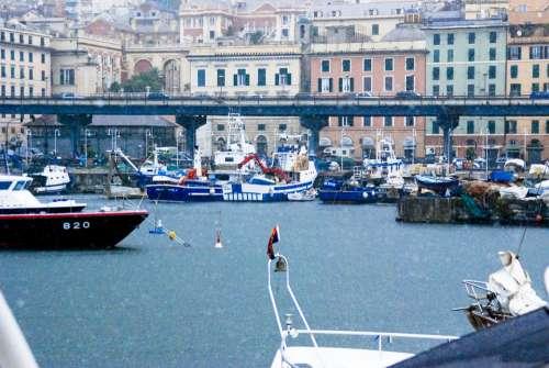 Genoa Rain Marina Yachts Harbour Landscape
