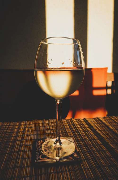 Glass Wine White Wine Glass Of Wine Drink Sunset