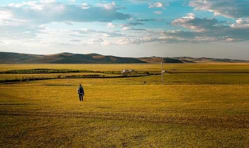 Grassland Man People Landscape