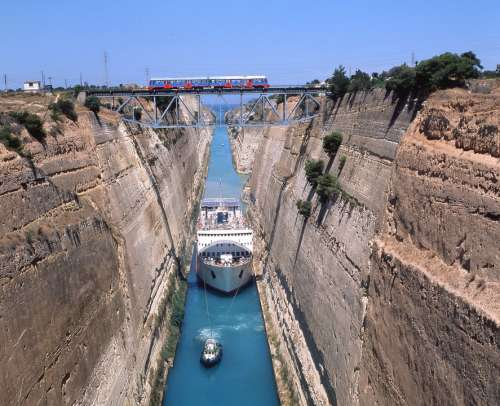 Greece Isthmus Boat Channel Corinth