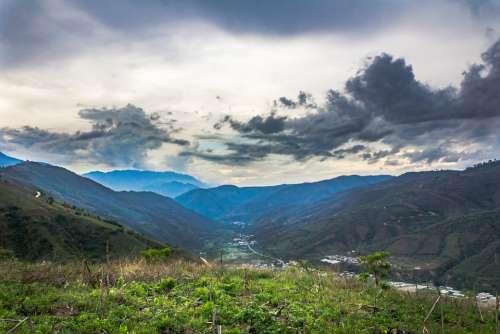 Hills Clouds Nature Grass