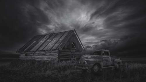 Hut Oldtimer Black And White Barn Lapsed