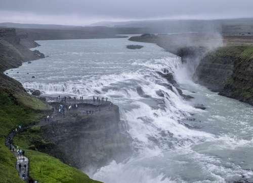 Iceland Gullfoss Waterfall Huge Spray Churn