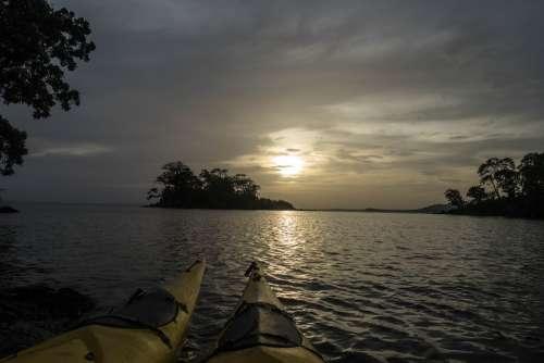 Kayaking Nicaragua Sunset Lake Waves Nature