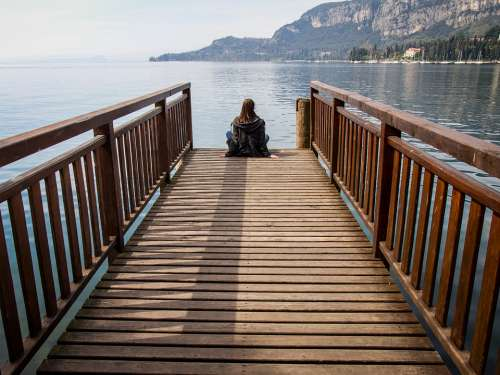 Lake Girl Tranquility Pier Italy Port Water View