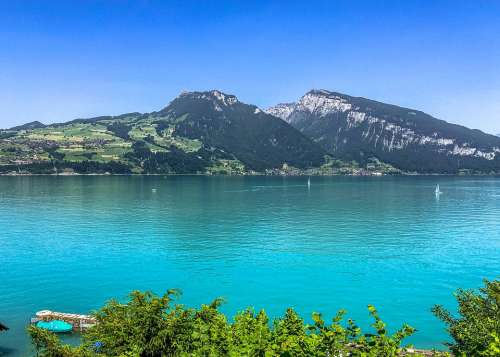 Lake Switzerland Mountains Landscape Alpine Water