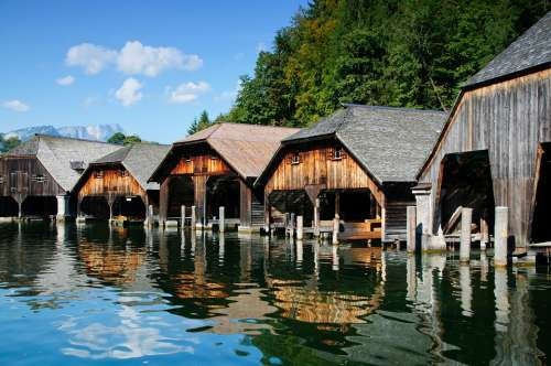 Lake Königssee Berchtesgaden Boathouses Bavaria