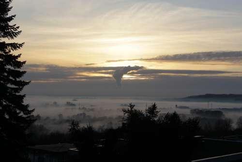 Landscape Fog Sunset Clouds