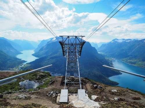 Lift Loen Skylift Fjord Mountain Norway Nature