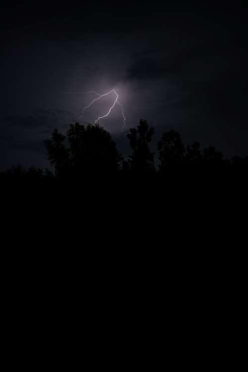 Lightning Bolt Sky Night Darkness Storm Thunder