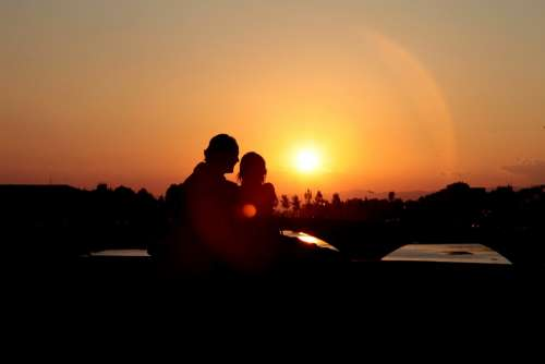 Love Couple Sunset Romance Romantic Relationship