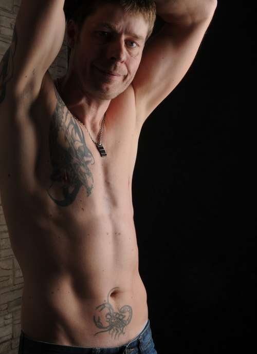 Man Tattooed Muscular Male Athletic Sexy