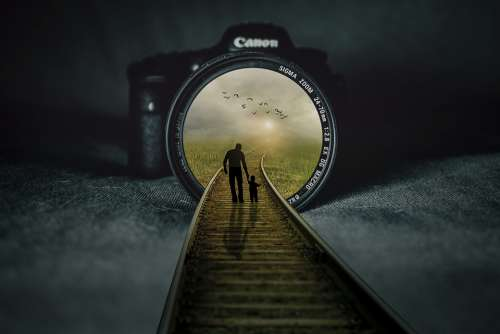 Manipulation Camera Lens Railroad Tracks Landscape