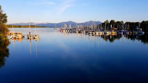 Marina Lake Mountains Chiemsee Bavaria Alpine