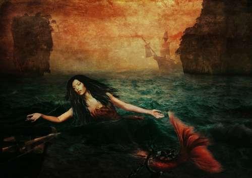 Mermaid Ocean Rock Sailing Vessel Shackles Chain