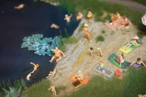 Miniature Lake Bathers Swim Model Scene Water