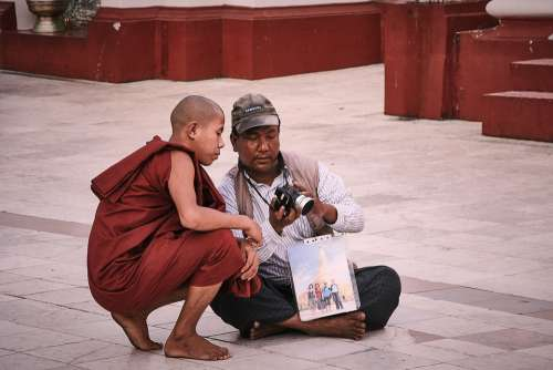 Monk Photographer Preview Digital Camera Photo