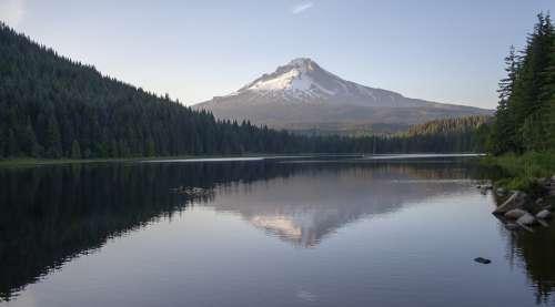 Mount Hood Trillium Lake Oregon Volcano Landscape