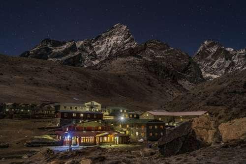 Mountain Village Himalayan Nepal Evening Night