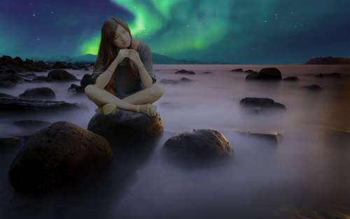 Mounting Aurora Borealis Woman Rock Landscape